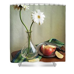 White Flowers And Red Apples Shower Curtain