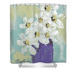 White Flowers Shower Curtain by P J Lewis