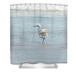 White Heron On The Beach Shower Curtain