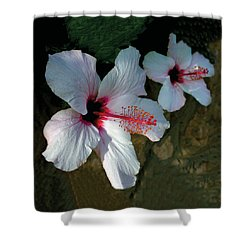 White Hibiscus Pair Shower Curtain