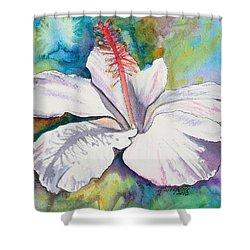 White Hibiscus Waimeae Shower Curtain by Marionette Taboniar
