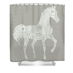 White Horse 1- Art By Linda Woods Shower Curtain