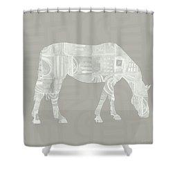 White Horse 2- Art By Linda Woods Shower Curtain