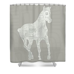 White Horse 3- Art By Linda Woods Shower Curtain