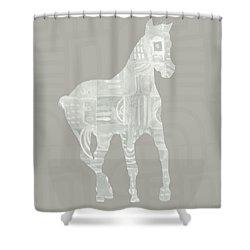 White Horse 3- Art By Linda Woods Shower Curtain