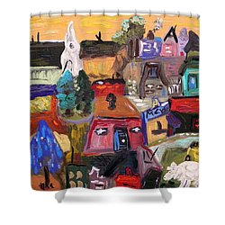 Shower Curtain featuring the painting White Horse In The Village Field by Mary Carol Williams