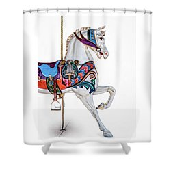 White Horse Of The Carousel Shower Curtain by David and Carol Kelly