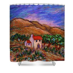 Shower Curtain featuring the painting White House In An Oak Grove by Xueling Zou