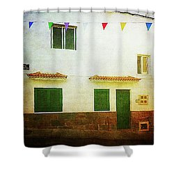 Shower Curtain featuring the photograph White House With Flags, Alcala by Anne Kotan