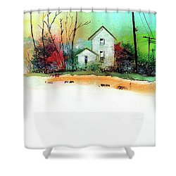 Shower Curtain featuring the painting White Houses by Anil Nene