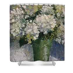 White Hydrangeas Shower Curtain