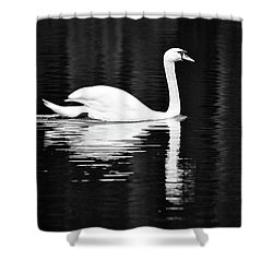 White In Black  Shower Curtain