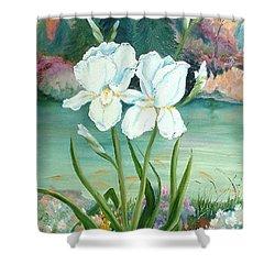White Iris Love Shower Curtain
