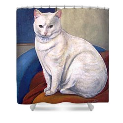 Shower Curtain featuring the painting White Kitty by Laura Aceto
