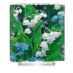 White Lilies Of The Valley Shower Curtain
