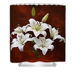 White Lilies On Red Shower Curtain