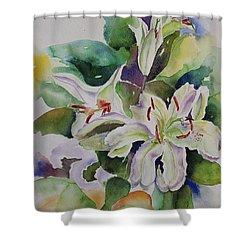 White Lilies Still Life Shower Curtain by Geeta Biswas