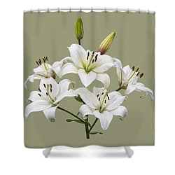 White Lilies Illustration Shower Curtain
