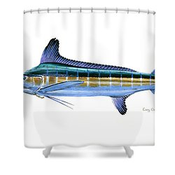 White Marlin Shower Curtain by Carey Chen