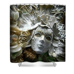 White Masked Celebration Shower Curtain