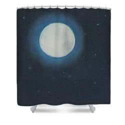 White Moon At Night Shower Curtain
