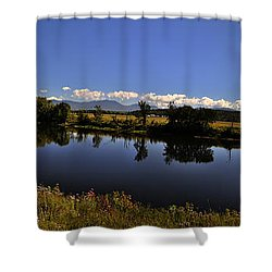 White Mountain Panorama Shower Curtain by Deborah Klubertanz