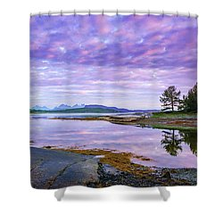 Shower Curtain featuring the photograph White Night In Nordkilpollen Cove by Dmytro Korol