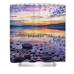 White Night Sunset On A Swedish Lake Shower Curtain