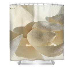 White-on-white Magnoia Shower Curtain