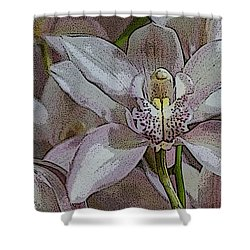 White Orchid Flower Shower Curtain by Gary Crockett