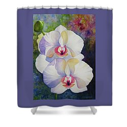 White Orchids Shower Curtain by Kerri Ligatich