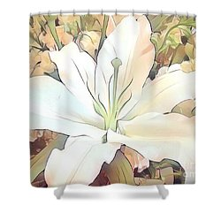 White Painted Lily Shower Curtain