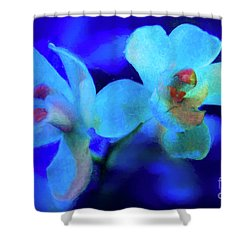 Shower Curtain featuring the digital art White Painted Orchids by Darleen Stry