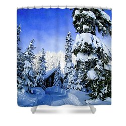 White Pass Chalet Shower Curtain by Lynn Hopwood
