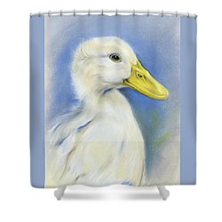 Shower Curtain featuring the pastel White Pekin Duck by MM Anderson