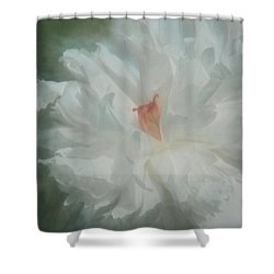 Shower Curtain featuring the photograph White Peony by Benanne Stiens
