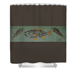 White  Perch With Yellow Perch Shower Curtain