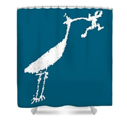 White Petroglyph Shower Curtain
