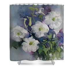 White Petunias Shower Curtain