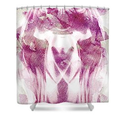 White Pi Flower Shower Curtain by Andrea Barbieri