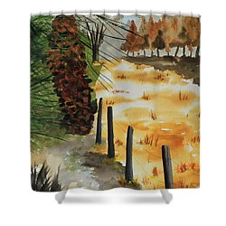 White Pine Cone Shower Curtain