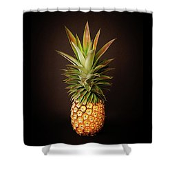 White Pineapple King Shower Curtain by Denise Bird