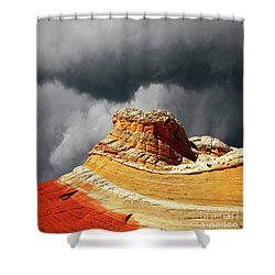 White Pocket 35 Shower Curtain by Bob Christopher