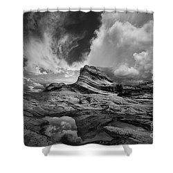 White Pocket - Black And White Shower Curtain by Keith Kapple