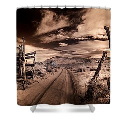 White Pocket Corral Shower Curtain by William Fields