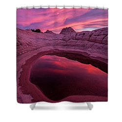 White Pocket Sunset Shower Curtain