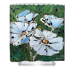 White Poppies Shower Curtain