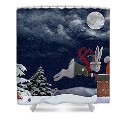White Rabbit Christmas Shower Curtain by Audra Lemke