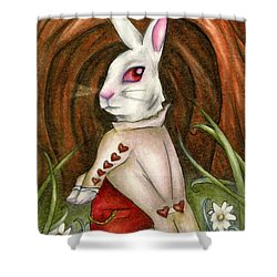 White Rabbit On Way To Wonderland Shower Curtain
