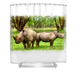 Shower Curtain featuring the painting White Rhinos by Maciek Froncisz